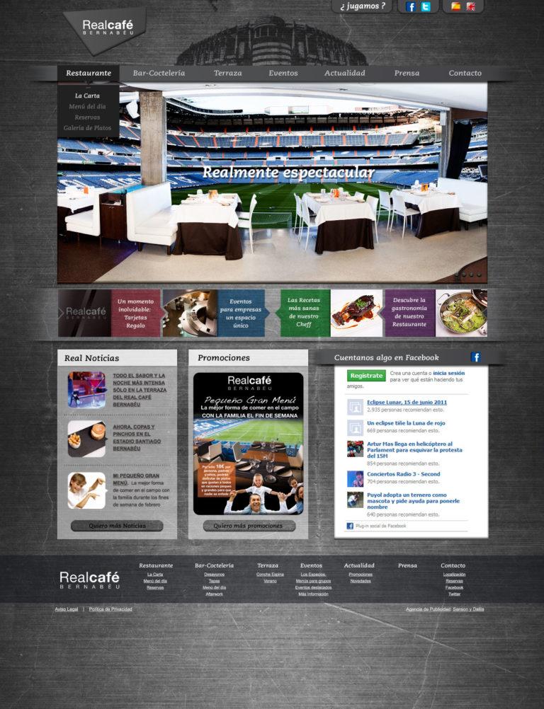 desarrollo online página Real Café Bernabeu