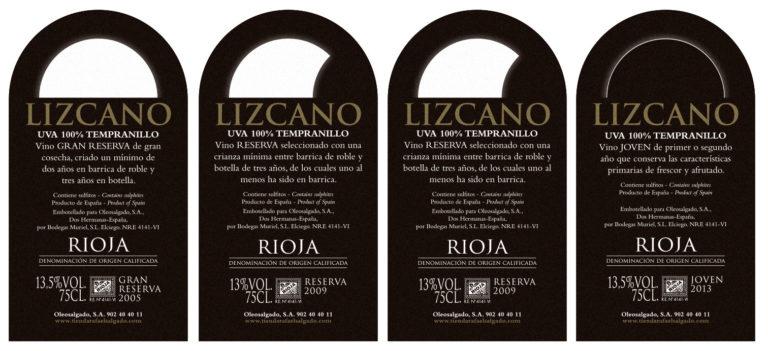 Diseño de etiquetas de vino Lizcano, restyling de marca